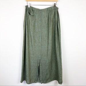 Flax Green Linen Skirt Size Large